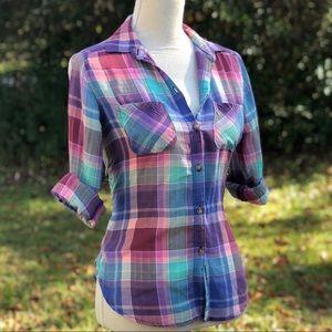 AEO Vintage | Plaid Boyfriend Shirt - XS
